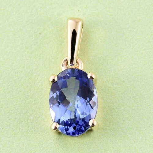 9K Y Gold AA Tanzanite (Ovl) Solitaire Pendant 0.750 Ct.