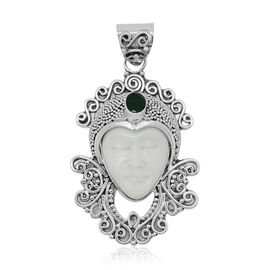 Princess Bali Collection OX Bone Carved Face (Ovl 7.19 Ct), Emerald Sakota Pendant in Sterling Silver 7.720 Ct.