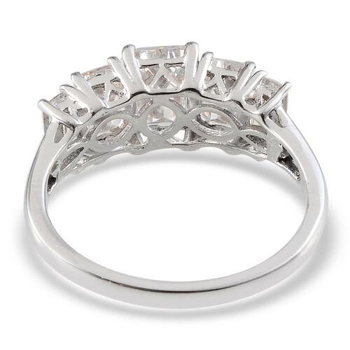 J Francis - Platinum Overlay Sterling Silver (Oct) 5 Stone Ring Made With SWAROVSKI ZIRCONIA