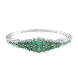 Kagem Zambian Emerald (Ovl) Bangle in Platinum Overlay Sterling Silver (Size 7.5) 6.500 Ct.