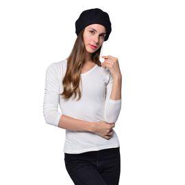 MILANO COLLECTION - 90% Merino Wool Black Ladies Beret