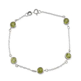 Hebei Peridot (Rnd) Station Bracelet (Size 7.5) in Platinum Overlay Sterling Silver 2.500 Ct.