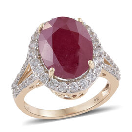 9K Y Gold African Ruby (Ovl 12.25 Ct), Natural Cambodian Zircon Ring 14.000 Ct.