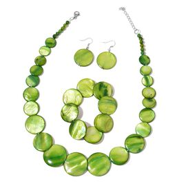 Green Shell Coin Necklace (Size 21 with Extender), Stretchable Bracelet (Size 7) and Hook Earrings in Silver Tone