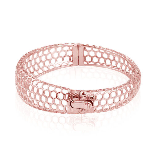 Designer Inspired Honey Comb Rose Gold Overlay Sterling Silver  Bangle (Size 7.5), Silver wt 22.00 Gms.