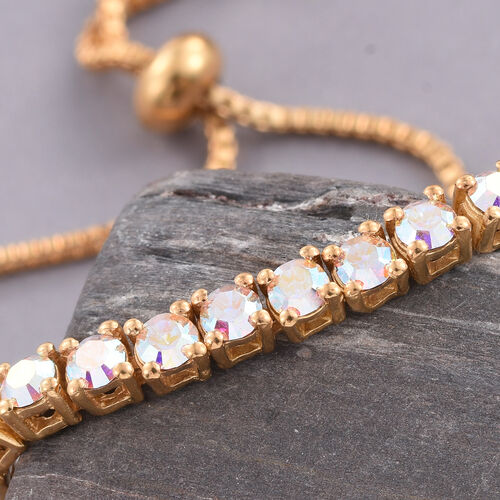 J Francis Crystal from Swarovski - AB Crystal (Rnd) Adjustable Bracelet (Size 6.5 to 8.5) in ION Plated 18K Yellow Gold Bond