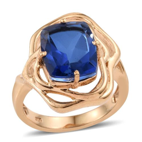Ceylon Colour Quartz (Cush) Solitaire Ring in 14K Gold Overlay Sterling Silver 6.000 Ct.