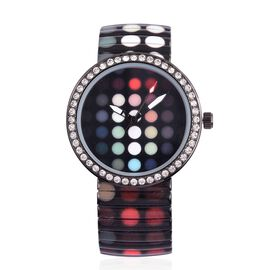 STRADA Japanese Movement Red, Pink and Multi Colour Dots Print Dial with White Austrian Crystal Water Resistant Watch in Black Tone with Stainless Steel Back and Oil Print Stretchable Strap