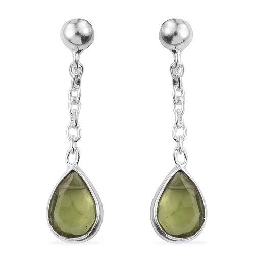 AA Hebei Peridot (Pear) Earrings (with Push Back) in Sterling Silver 2.390 Ct.