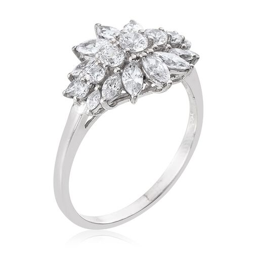 J Francis - Platinum Overlay Sterling Silver (Rnd) Ring Made with SWAROVSKI ZIRCONIA 2.090 Ct.