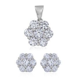 ELANZA AAA Simulated White Diamond (Rnd) 7 Stone Floral Pendant and Stud Earrings (with Push Back) in Rhodium Plated Sterling Silver
