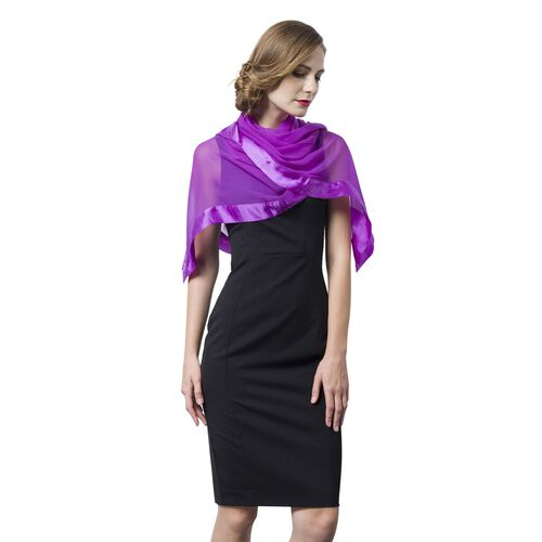 100% Mulberry Silk Purple Colour Scarf with Satin Border (Size 160X60 Cm)