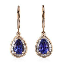 ILIANA 18K Y Gold AAA Tanzanite (Pear), Diamond (SI/G-H) Lever Back Earrings 3.000 Ct.