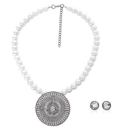 White Glass Pearl, White Glass and White Austrian Crystal Necklace (Size 17 with Extension) and Earrings (With Push Back) in Black Tone