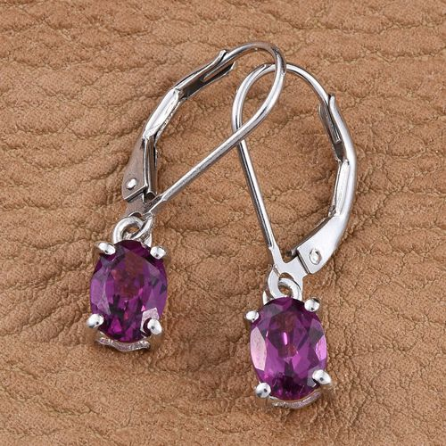 Rare Mozambique Grape Colour Garnet (Ovl) Lever Back Earrings in Platinum Overlay Sterling Silver 2.000 Ct.