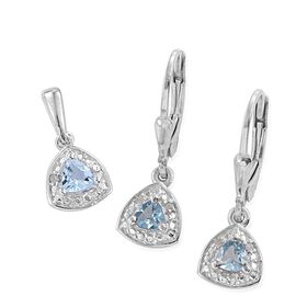 Espirito Santo Aquamarine (Trl), Diamond Pendant and Lever Back Earrings in Platinum Overlay Sterling Silver 0.650 Ct.