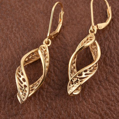 14K Gold Overlay Sterling Silver Lever Back Earrings, Silver wt 3.82 Gms.