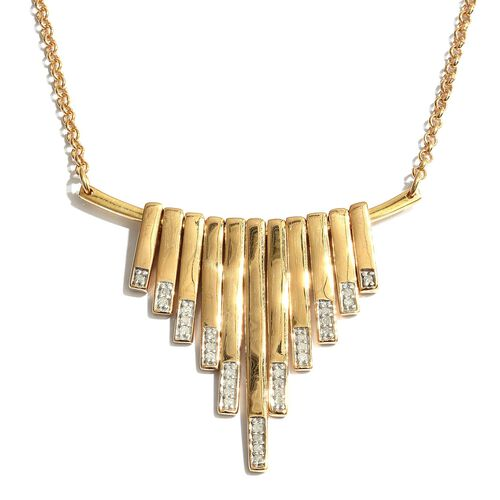 Diamond 0.15 Ct Silver Waterfall Necklace in Gold Overlay (Size 18) I4/I