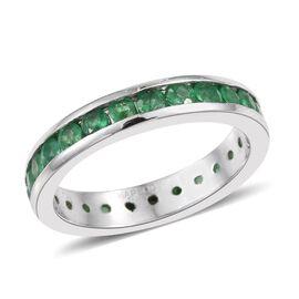 RHAPSODY 950 Platinum AAAA Boyaca Colombian Emerald (Rnd) Full Eternity Band Ring 2.000 Ct.