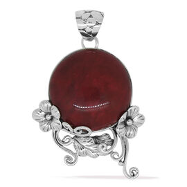 Royal Bali Collection  Coral (Rnd) Pendant in Sterling Silver.