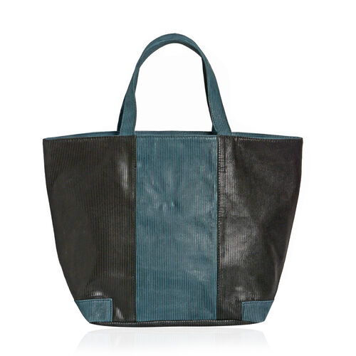 Genuine Leather Black and Teal Blue Colour Corduroy Finish Tote Bag (Size 46x32x16 Cm)