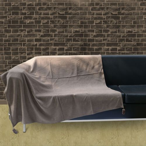 Dark Taupe Colour Throw with Brown Tassels (Size 145x125 Cm)