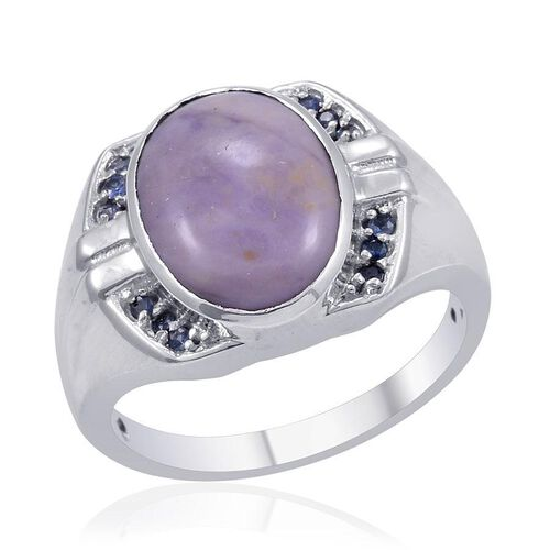 Designer Collection Utah Tiffany Stone (Ovl 7.25 Ct), Kanchanaburi Blue Sapphire Ring in Platinum Overlay Sterling Silver 7.500 Ct.