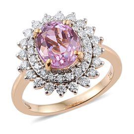 ILIANA 18K Yellow Gold 4.25 Carat Kunzite Engagement Ring With Diamond SI G-H