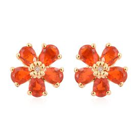 Jalisco Fire Opal (Pear), Diamond Floral Stud Earrings (with Push Back) in 14K Gold Overlay Sterling Silver 1.000 Ct.