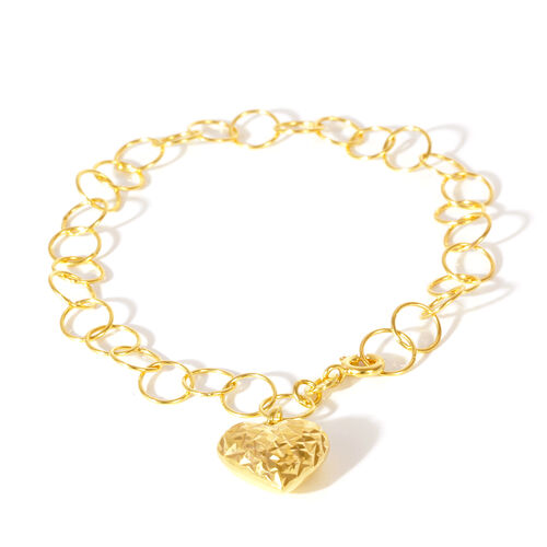 JCK Vegas Collection - Limited Edition - 14K Gold Overlay Sterling Silver Open Circle Bracelet with Heart Charm, Silver wt 3.50 Gms. Size 7.5