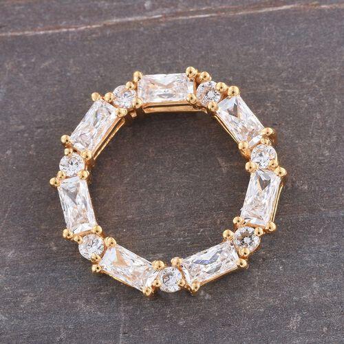 J Francis - 14K Gold Overlay Sterling Silver (Bgt) Circle Pendant Made with SWAROVSKI ZIRCONIA