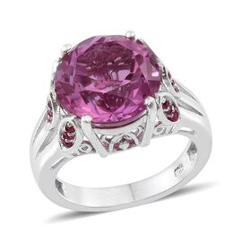 Kunzite Colour Quartz (Rnd 9.00 Ct), Ruby Ring in Platinum Overlay Sterling Silver 9.400 Ct.