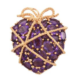 GP Amethyst (Ovl), White Topaz and Kanchanaburi Blue Sapphire Pendant in 14K Gold Overlay Sterling Silver 7.500 Ct.