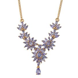 Tanzanite (Pear) Necklace (Size 18) in 14K Gold Overlay Sterling Silver 6.500 Ct.