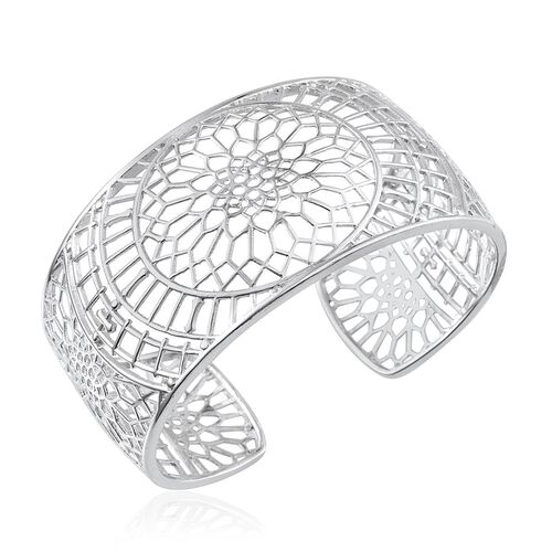 ION Plated Platinum Bond Cuff Bangle (Size 7.5)