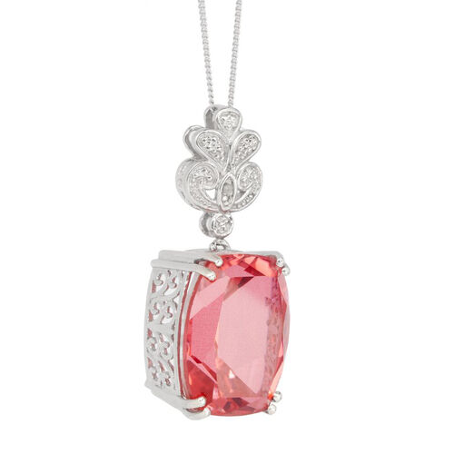 Padparadscha Colour Quartz (Cush 18.50 Ct), Diamond Pendant with Chain in Platinum Overlay Sterling Silver 18.510 Ct.