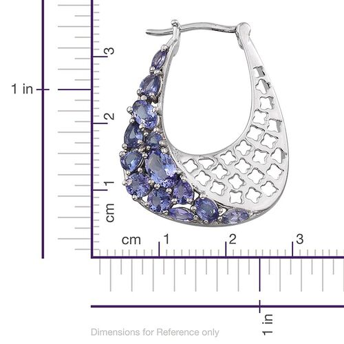 Stefy Tanzanite (Ovl), Pink Sapphire Earrings (with Clasp) in Platinum Overlay Sterling Silver 4.250 Ct.