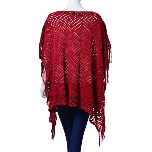 Diamond Pattern Red Colour Poncho with Tassels (Size 80x70 Cm)