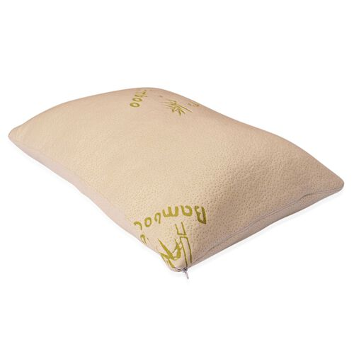 Bamboo Memory Foam Cloud Pillow with Removable Supersoft Cover, Hypoallergenic, Antimicrobial (Size 75x50 Cm)