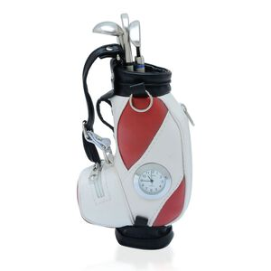 STRADA Japanese Movement White Dial Red and White Colour Golf Bag Design Clock with Three Ball Point Pen