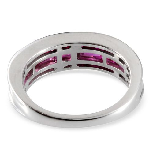 Simulated Ruby (Sqr) 7 Stone Band Ring in Platinum Overlay Sterling Silver 3.000 Ct.
