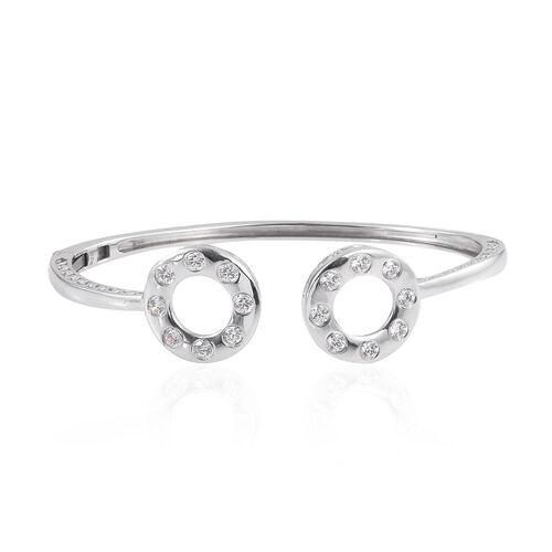 J Francis - Platinum Overlay Sterling Silver (Rnd) Bangle (Size 7.5) Made with SWAROVSKI ZIRCONIA
