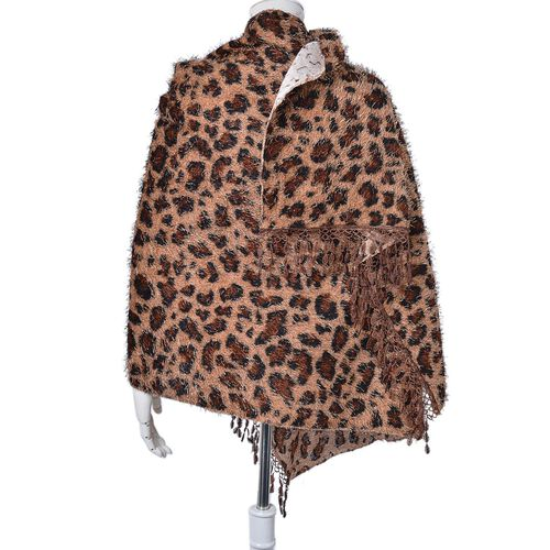 Leopard Pattern Chocolate, Black and Peach Colour Scarf with Fringes (Size 180x70 Cm)