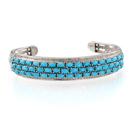 Arizona Sleeping Beauty Turquoise (Ovl), Diamond Cuff Bangle in Platinum Overlay Sterling Silver (Size 7.5) 10.400 Ct.