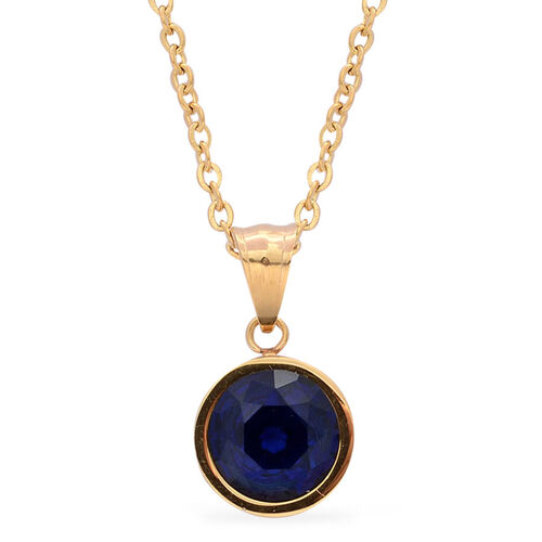 Simulated Blue Sapphire Pendant with Chain and Earrings (with Push Back) in ION Plated Yellow Gold with Stainless Steel