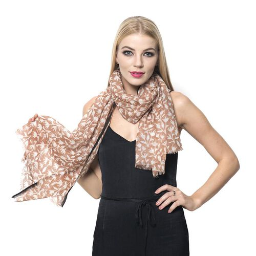 Designer Inspired 100% Wool Chocolate and Black Colour Hand Block Printed Scarf (Size 185x75 Cm)