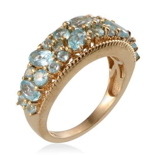 Paraibe Apatite (Ovl) Ring in 14K Gold Overlay Sterling Silver 2.150 Ct.
