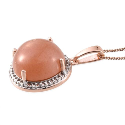 Morogoro Peach Sunstone (Rnd) Pendant With Chain in Rose Gold Overlay Sterling Silver 10.000 Ct.
