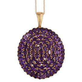 Lusaka Amethyst (Ovl) Cluster Pendant With Chain in 14K Gold Overlay Sterling Silver 19.000 Ct.