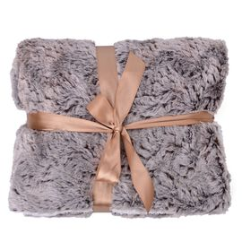 Superfine Microfibre Luxury Faux Fur reversible Sherpa Blanket (Size 200x150 Cm) White Wolf
